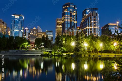 Spoed Foto op Canvas Canada Calgary Downtown at night, Alberta, Canada