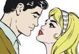 Fototapeta Teenage - Ilustracion con una pareja de jovenes