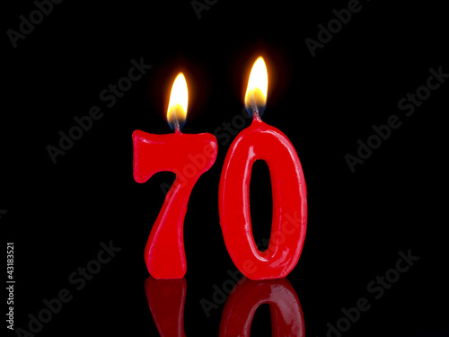 Birthday-anniversary candles showing Nr. 70 Poster