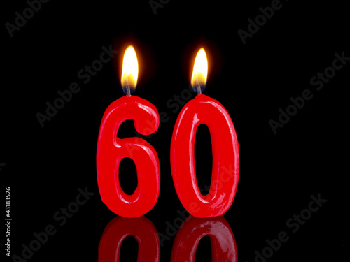 Fotografia  Birthday-anniversary candles showing Nr. 60