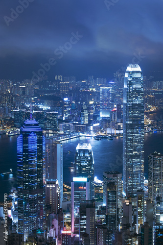 View of Victoria harbor from the peak at Hong Kong Billede på lærred