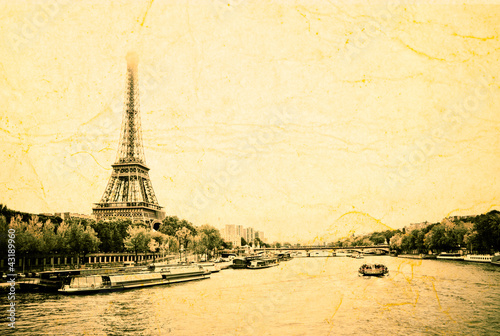 "View of the Eiffel Tower and bridge ""Pont d'Elena"""