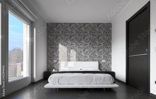 moderna camera da letto con tappezzeria – kaufen Sie dieses ...