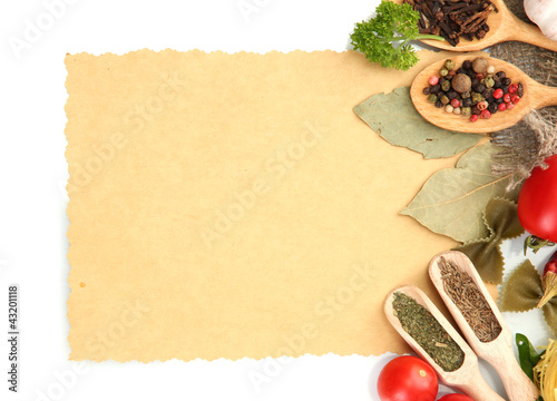 Foto auf Gartenposter Gewürze 2 paper for recipes,vegetables and spices, isolated on white