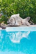 Swimming Pool With Wooden Carved Fish Sculpture On The Side