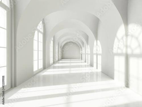 Naklejka na drzwi Modern long corridor