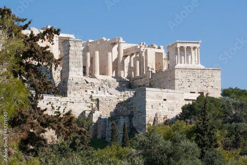 Fotobehang Athene Ancient ruins on Acropolis of Athens, Greece