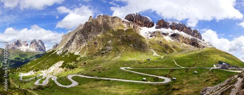 Fotografie, Obraz Dolomites  landscape with mountain road.