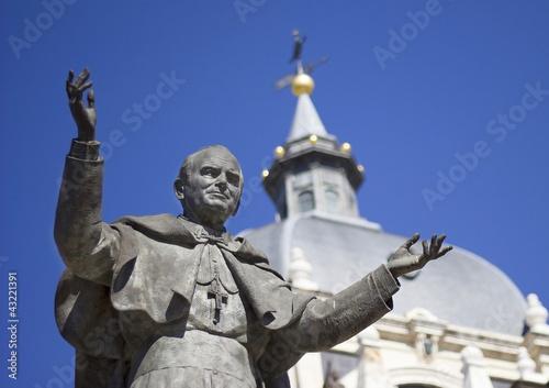 Pope John Paul II Statue Canvas Print