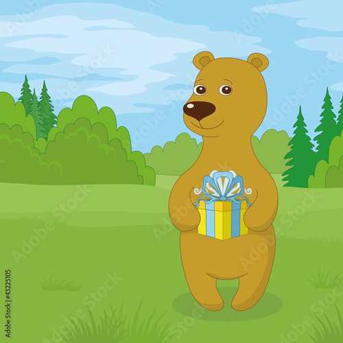 Poster Ours Teddy bear with gift on meadow