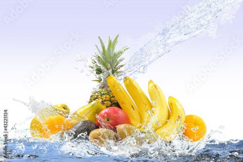 Poster Eclaboussures d eau トロピカルフルーツ