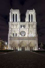 Fototapetanight scene of Notre Dame cathedral, Paris France