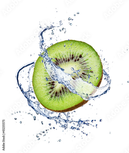 Fotografie, Obraz  Kiwi in water splash, isolated on white background