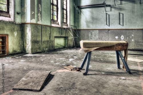 Foto-Stoff bedruckt - Dilapidated pommel horse in an abandoned school gymnasium (von tobago77)