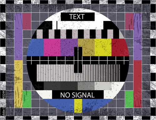 Photo tv color test screen on grunge background - illustration