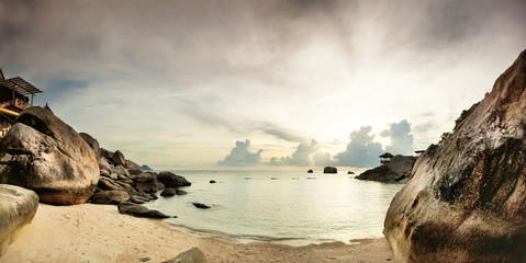 Fototapeta Panorama of tropical beach before sunset