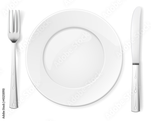 Fotografie, Obraz  Empty plate with knife and fork