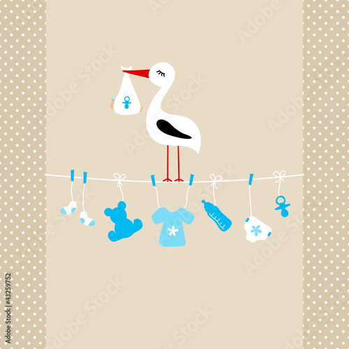 Stork On Clothes Line Baby Symbols Boy Beige Dots #43259752