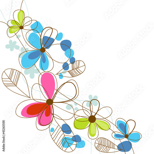 Deurstickers Abstract bloemen Colorful happy floral background