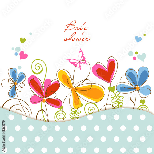 Deurstickers Abstract bloemen Floral baby shower
