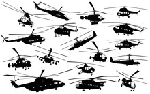 Detailed  Helicopter Silhouettes Set. Vector
