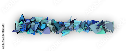 blue 3d abstract modern sculpture on white