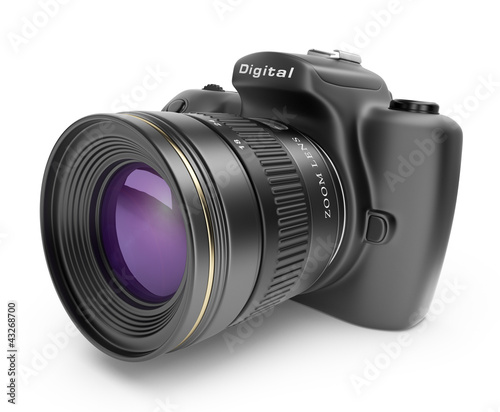 Fotografie, Obraz  Digital photo camera. 3D Icon isolated on white background