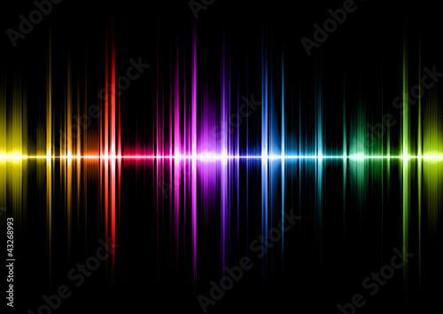 Fotografía  sound wave with spectral colours