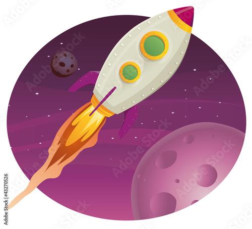 Foto op Canvas Kosmos Rocket ship Flying In Space