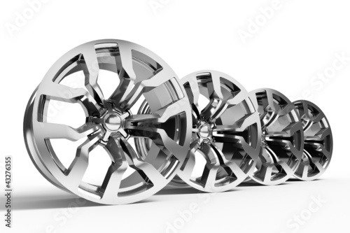 Fotografía  Car alloy wheels isolated over white - 3d render