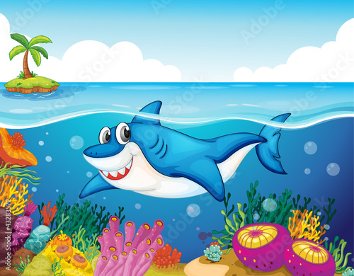 Wall Murals Submarine shark fish in sea