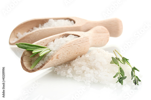 Tuinposter Kruiden 2 salt with fresh rosemary and thyme isolated on white