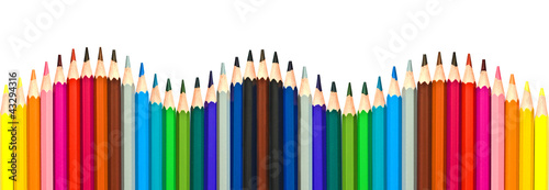 Crayons de couleur multicolores en forme de vague Canvas-taulu