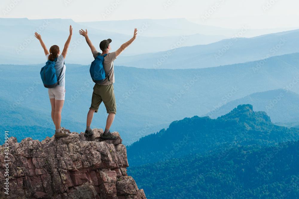 Fototapety, obrazy: couple hiking