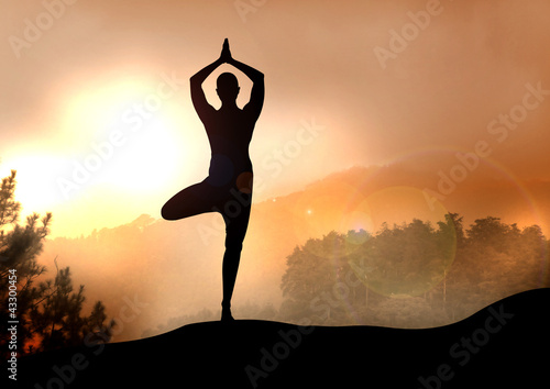 Stock Illustration of Yoga on Mountain - 43300454