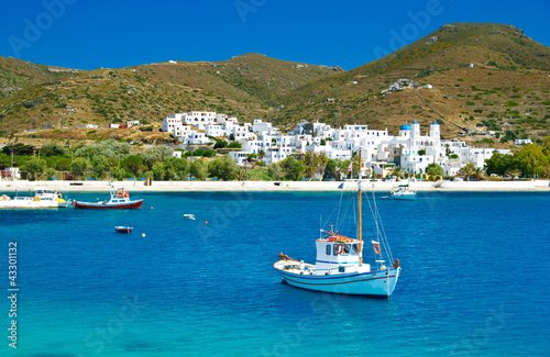 Photo Katapola bay on Amorgos island, Cyclades, Greece