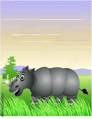 Foto op Aluminium Zoo funny rhino cartoon