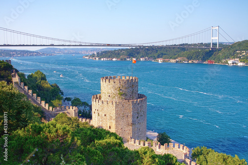 Aluminium Prints Turkey Rumelihisari with the FSM Bridge in the background