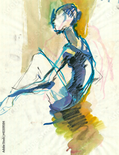 Obrazy Edgar Degas  after-the-performance-black-charcoal-and-water-colors