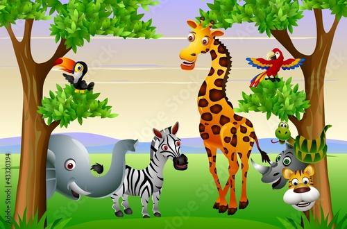 Obraz Dzikie afrykańskie kreskówka zwierząt - fototapety do salonu