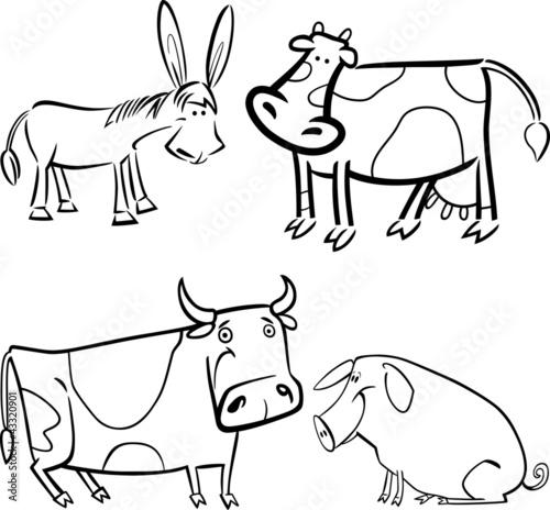 Tuinposter Doe het zelf farm animals set for coloring