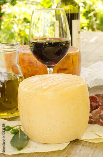 Formaggi e vino rosso dalla Sardegna Canvas Print