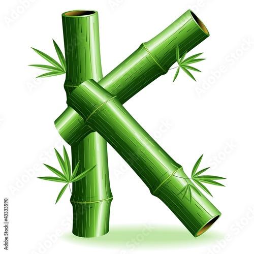 Foto auf AluDibond Ziehen Bambù Lettera K-Bamboo Logo Sign Letter K-Vector