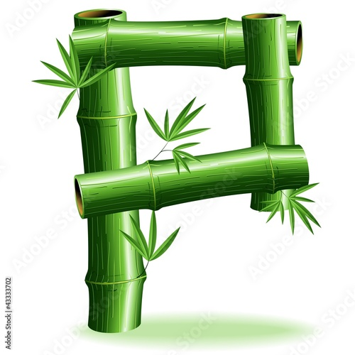 Foto auf AluDibond Ziehen Bambù Lettera P-Bamboo Logo Sign Letter P-Vector