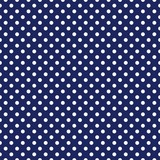 Vector seamless pattern with white polka dots on navy background