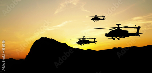 Poster Militaire Helicopter silhouettes on sunset background