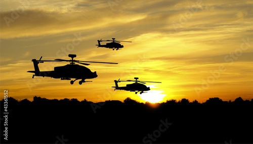 Helicopter silhouettes on sunset background