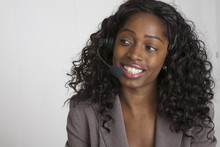 Black Businesswoman Talking On Headset
