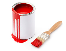 Full Of Red Paint Tin And Pain...