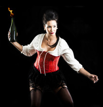 Attractive Brunette Woman  Throwing Molotov Cocktail
